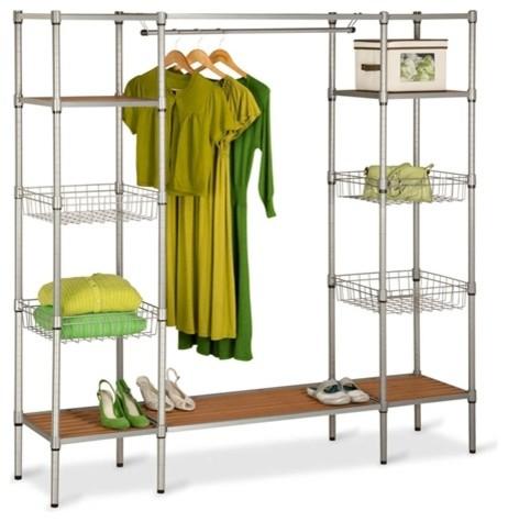 freestanding steel closet with basket shelves. Black Bedroom Furniture Sets. Home Design Ideas