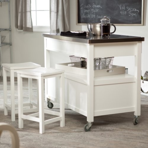 Concord Kitchen Island with Stools - White contemporary-kitchen-islands-and-kitchen-carts
