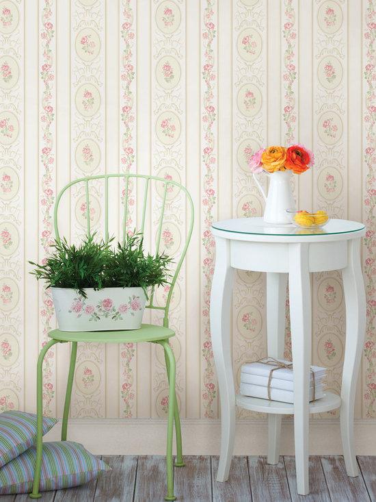 Palmer Pink Stripe Brewster Wallpaper -