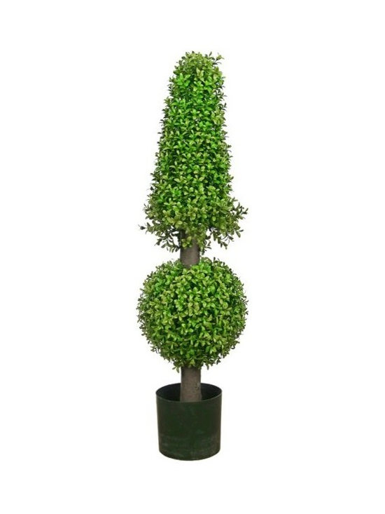 Artificial Outdoor Foliage - This cone and ball topiary artificial outdoor boxwood is excellent for providing privacy in your outdoor room, around pools and patios and for creating realistic garden environments that do not require watering or maintenance.