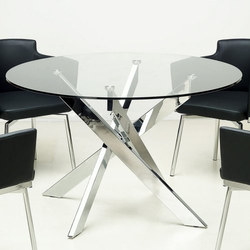 Chintaly Dusty Round Glass Dining Table - Contemporary - Dining Tables ...