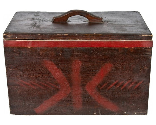Wood Storage Case - Vintage handmade wood storage case with hinged lid and pull-out tray.