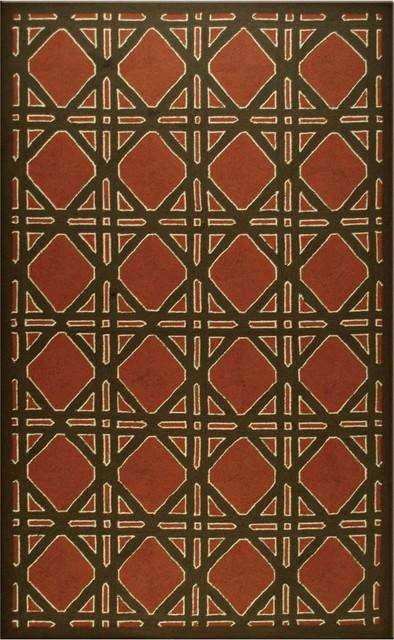Casual Trellis Terracotta Indoor Outdoor Rug modern-outdoor-rugs