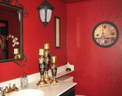 Red Bathroom Powder Room contemporary bathroom
