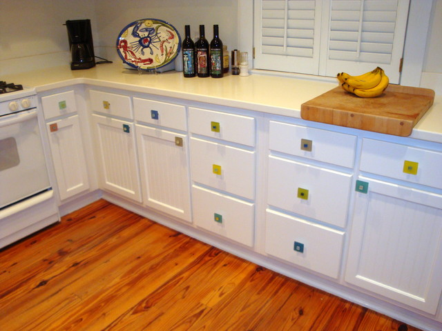 Beach Kitchen with Sea Glass Cabinet Pull Knob Hardware - Beach Style - Cabinet And Drawer ...