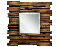 Reclaimed Slat Wood Mirror contemporary mirrors