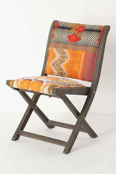 Terai Folding Chair, Orange Ikat eclectic-living-room-chairs