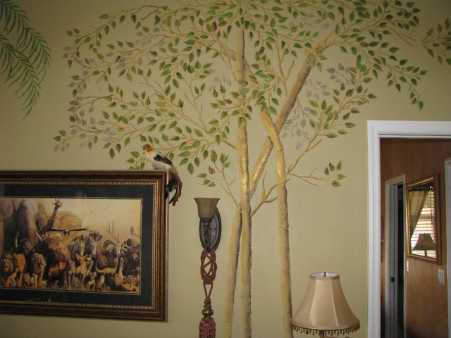 raised plaster aspen trees on living room wall