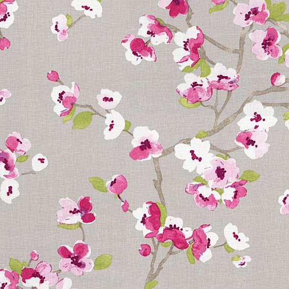 Gray & Magenta Cherry Blossom Linen Fabric contemporary-upholstery-fabric