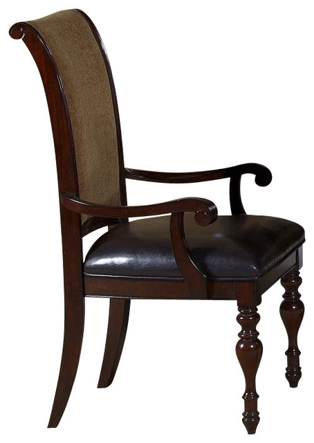 Liberty Furniture Kingston Plantation Upholstered Arm Chair in Cognac, Dark Wood traditional-dining-chairs