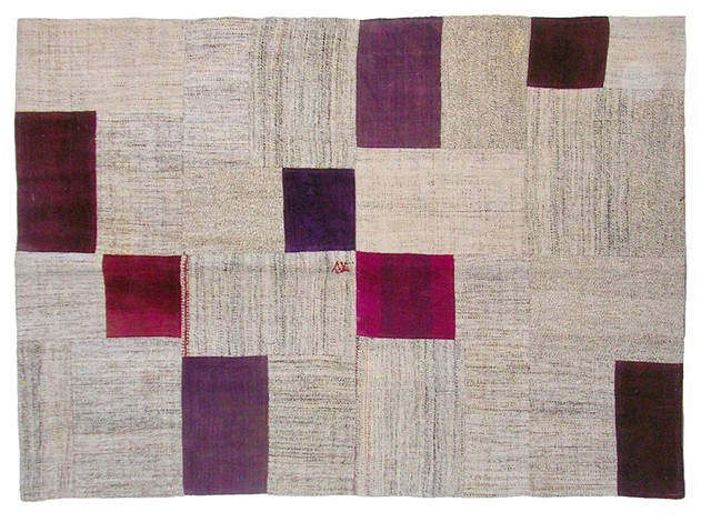 Fuchsia Vintage Patchwork Kilim eclectic-rugs