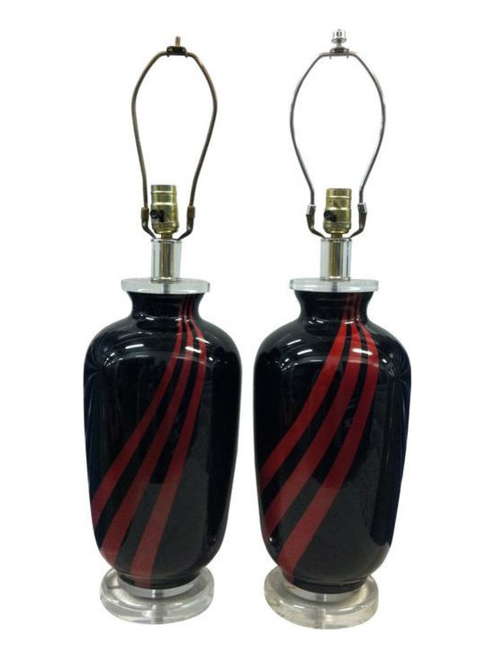 Art Deco Style Red and Black Lamps - A Pair - $500 Est. Retail - $250 on Chairis -