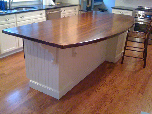 Heart Pine Rustic Dark Stain Island - contemporary - kitchen