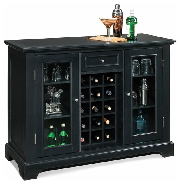 Home Styles Bedford Home Bar Cabinet In Ebony Traditional Wine And Bar Cabinets