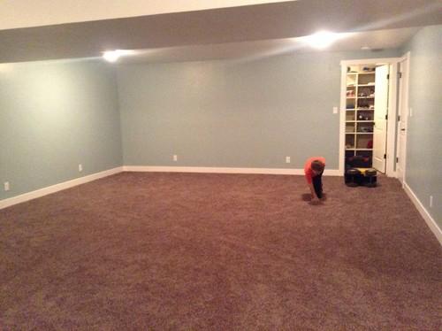 Help! Carpet is too dark! ( kids basement rec room)