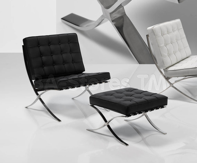 Modern Chair with Ottoman Set in Black - modern - chairs - new ...