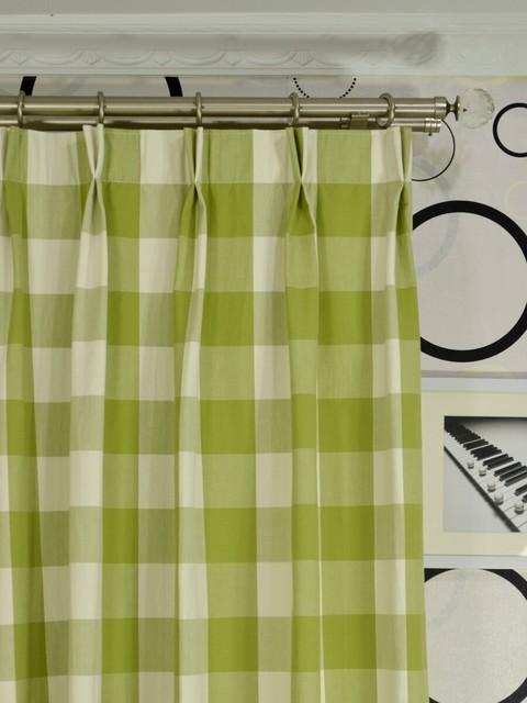 Green Plaid Double Pinch Pleat Cotton Curtains Modern