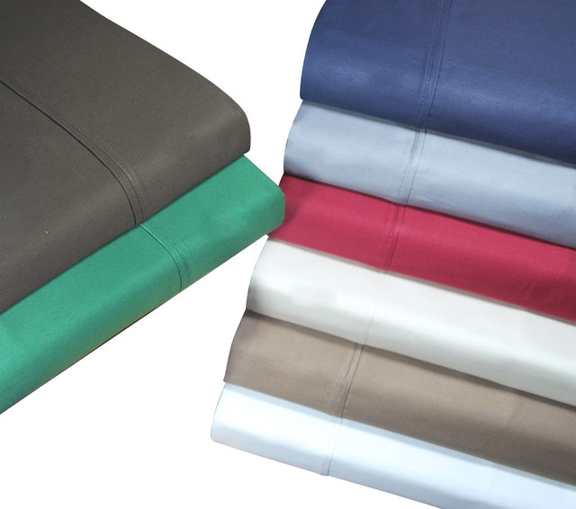 HC 400 Thread Count Egyptian Cotton Solid Sheet Set - 1398-twin-burgundy traditional-sheets