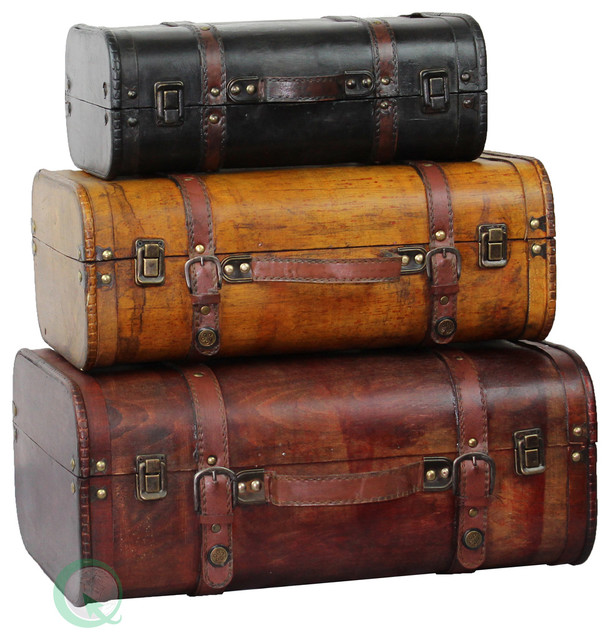 3 Colored Vintage Style Luggage Suitcase Trunk Set Of 3