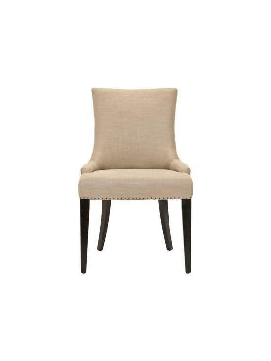 """Horchow - Becca Side Chair - Sweeping lines combined with neat rows of nailhead trim add to the smart look of these linen- and leather-wrapped and linen-wrapped dining chairs. Handcrafted of birch wood. """"Becca Lee"""" dining chair wrapped in beige linen with brown leather on the bac..."""