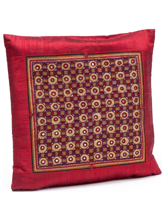"""Sitara Collections - Heirloom Tribal Jat Hand-Embroidered Raw Silk Cushion Cover, 16"""" X 16"""" - An instant Pick-Me-Up for Living areas or Bedrooms, this Heirloom Pillow Cover Transforms Your Space in a Matter of Minutes. the Motifs Feature Both Neutral and Bright Hues That Will Work with any Decor, While their Notice-Me Designs add the Perfect Hint of Spice. Embroidered Pillow Cushioms are Handmade by Women of Tribes in Kutch, india: Red Silk Cushiom Cover: Tribal Jat Embroidery and Mirrors are Set in Rows and Columns against a Red Silk Backdrop and is a Technique That is Both Precious and Rare. Colors: Red Materlal: Dupiomi Silk, Silk Thread Cushiom inserts are Not included Embroidery: Tribal Jat Closure: Slit Care instructioms: Dry Clean Dimensioms: 16 inches X 16 inches Set includes ome (1) Cushiom Cover artisan Group: Earthy Goods Imported."""