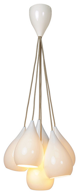 Original BTC - Drop 1 Pendant 6 Grouping in Glossy White modern pendant lighting