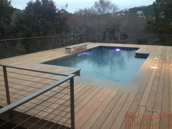 Ipe Hardwood Decking Around Pool With Horizontal Pencil Rod Railing
