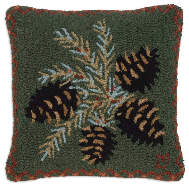 Diamond Pine Cone Hooked Pillow rustic-decorative-pillows