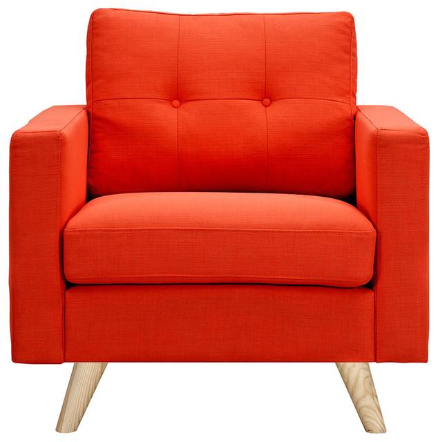 Retro Orange Armchair, Natural Wood Color - Midcentury ...