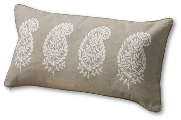 """12"""" x 24"""" Painted Paisley Decorative Pillow Cover traditional-decorative-pillows"""