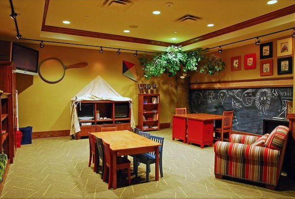 camping in the basement playroom contemporary