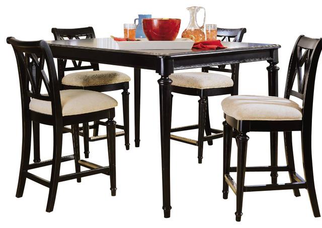 American drew camden dark 5 piece gathering dining room for Traditional black dining room sets