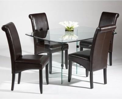 Chintaly V-Base 5 pc. Glass Dining Table Set modern-dining-tables