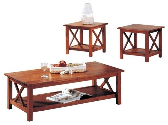 3 Pc Brown Finish Wood Coffee And End Table Set With Cross