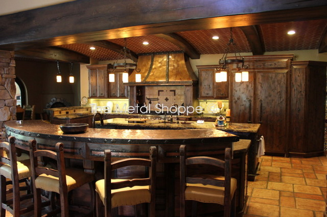 Custom Copper Kitchen Hood and Copper Countertop kitchen-countertops
