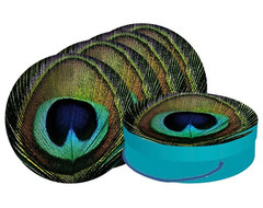 Paperproducts Design Paradise Peacock Dessert Plate eclectic-plates