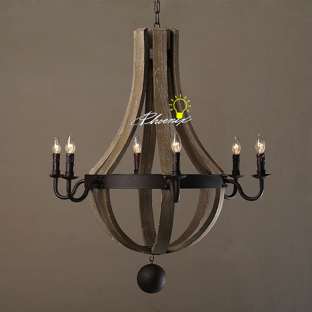 Anitque Wood And Iron Chandelier