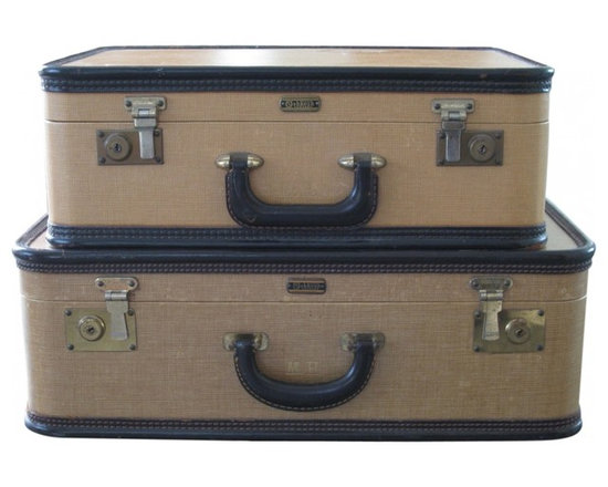 Oshkosh Luggage Vintage Set - Vintage Oshkosh suitcases. Great patina, rich vintage colors of mustard yellow, and aged brown leather trim and handles. Monogrammed MH on both suitcases with the brass metal hardware aged perfectly.