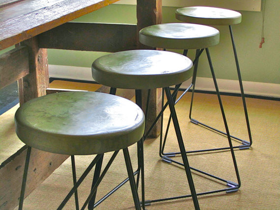 Concrete And Steel Indoor And Outdoor Coleman Stool By Greta de Parry contemporary outdoor stools and benches