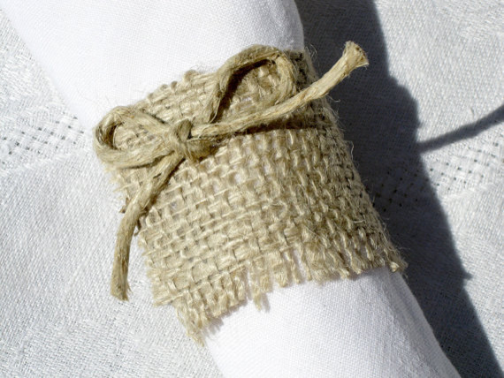 Rustic Burlap Napkin Rings Set of 4 by Splendid Events eclectic-napkin-rings