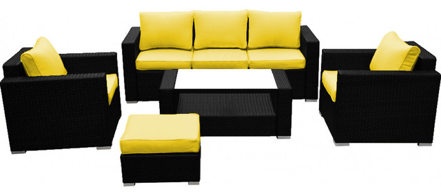 Reef Rattan 5 Piece Sofa Set Black Rattan Yellow