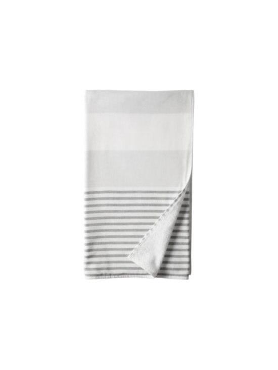 Serena & Lily - Fouta Bath Sheet  Dove Grey - Woven in the tradition of fine Turkish towels, our version combines smooth cotton on one side with looped cotton terry on the other for added wicking. Wide, sporty stripes of dove grey alternate with narrow stripes of pewter.