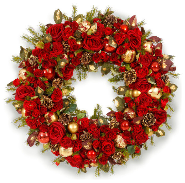 "Glamorous Holiday Wreath 36"" traditional-wreaths-and-garlands"