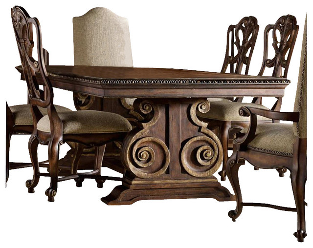 Rectangular pedestal dining table with leaves traditional dining