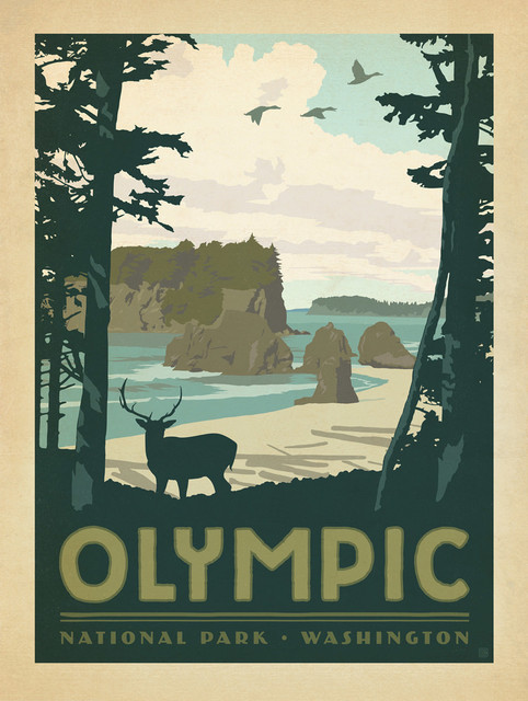 art u0026 soul of america olympic national park gallery print midcentury wall art yosemite home decor - Yosemite Home Decor