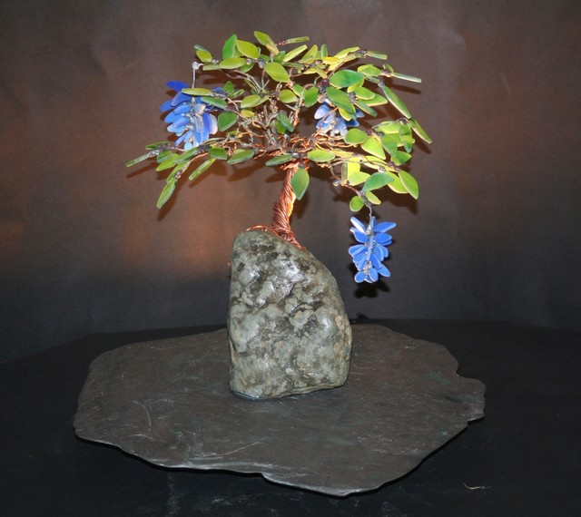 Blue Wisteria Stained Glass Bonsai Tree Table Lamps Los Angeles By Stone Carving And Glass