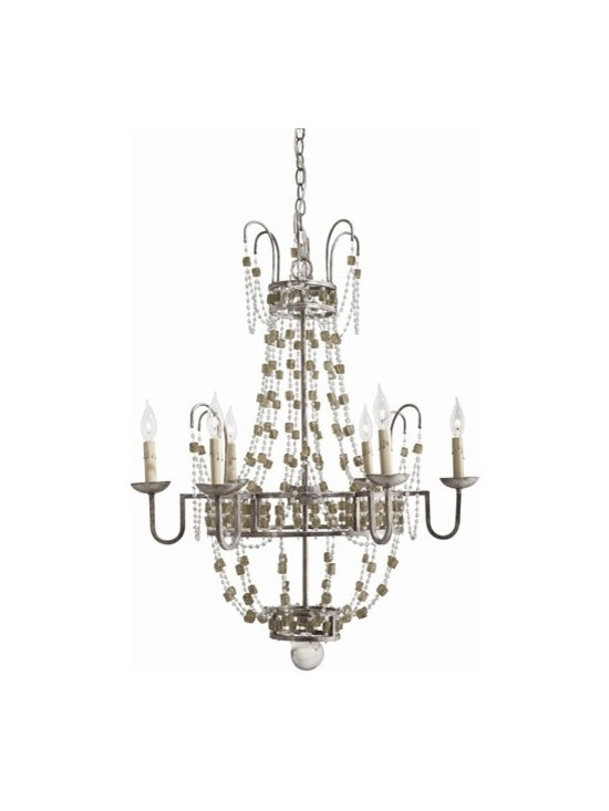 Arteriors Versailles Small 6 Light Iron/Smoke Glass Chandelier - Versailles Small 6 Light Iron/Smoke Glass Chandelier
