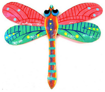 Metal 'Pink Dragonfly' Wall Art eclectic-artwork