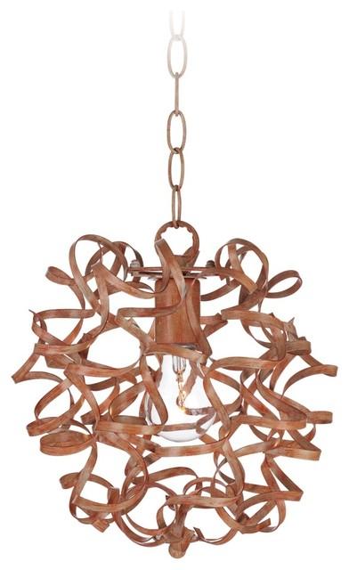 "Transitional Woody Flourish 12"" Wide Metal Curls Pendant Light contemporary-pendant-lighting"