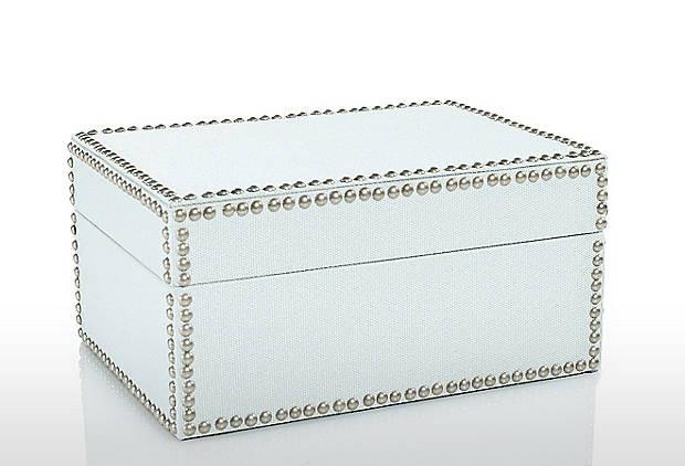 Nailhead Medium Box, Ice - Modern - Decorative Boxes - by One Kings Lane